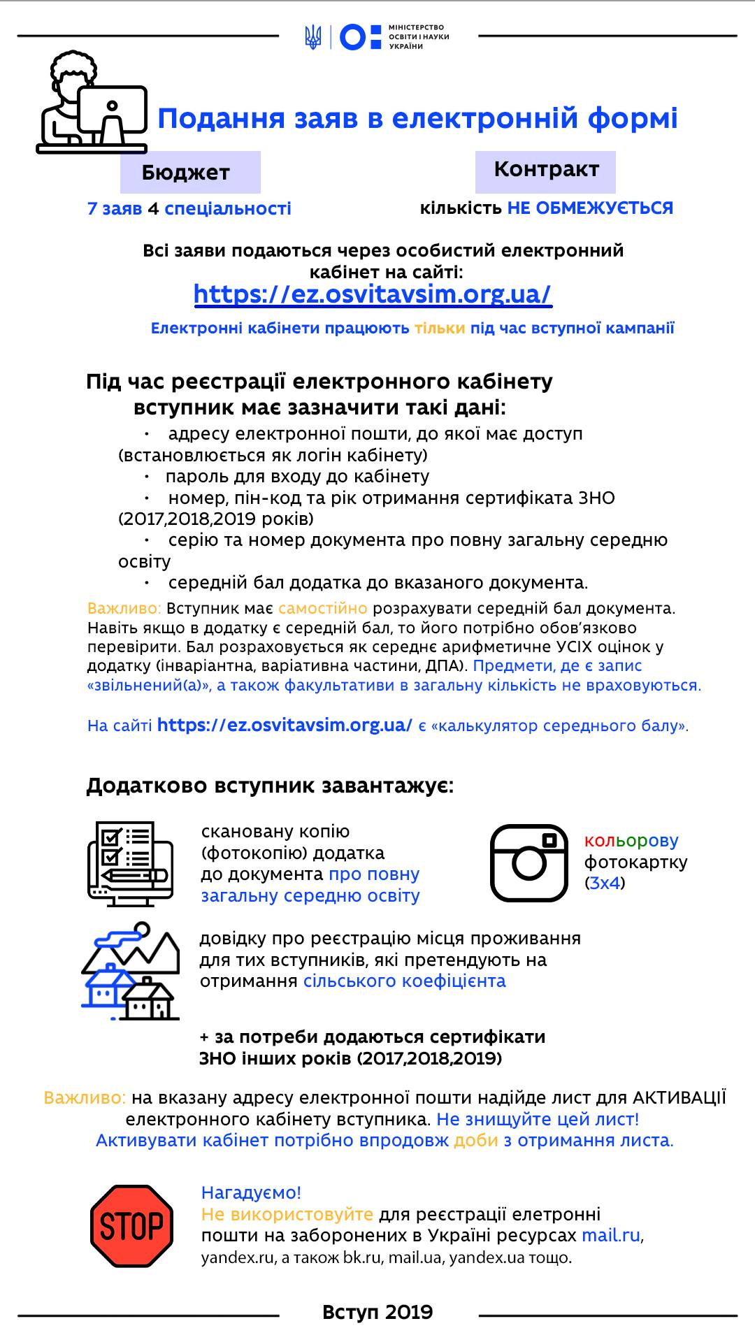Коротка інформація стосовно електронних заяв